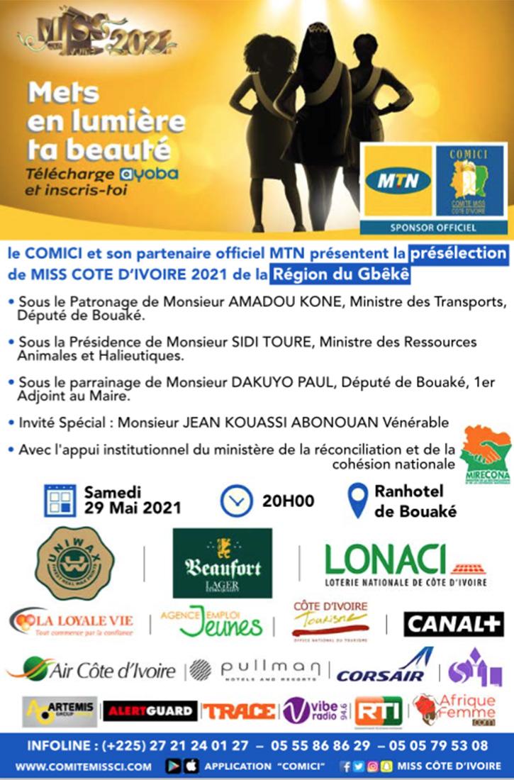 Présélection Miss CI 2021 de la Région du Gbêkê