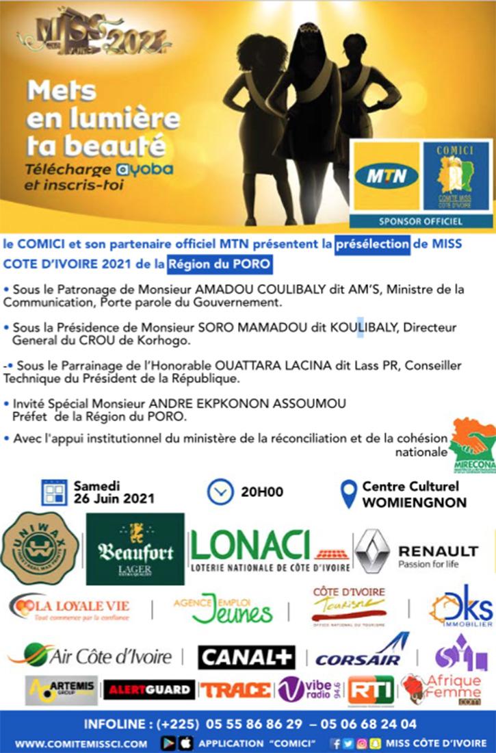 Présélection Miss CI 2021 de la Région du Poro