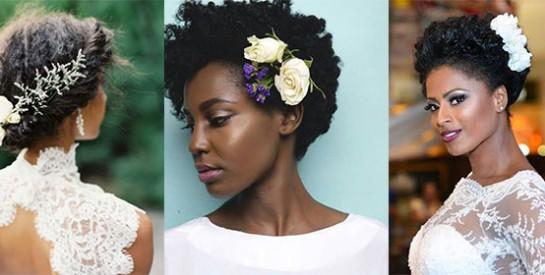 Mariage: des idées pour coiffer ses cheveux afro avec des fleurs